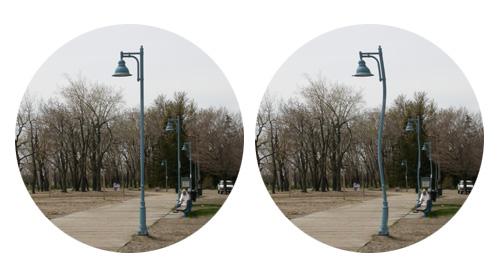 Links die normale Wahrnehmung - rechts die Veränderung durch eine beginnende AMD